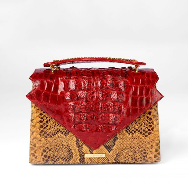 Alluring Abi in Crocodile and Python in Red & Light Yellow