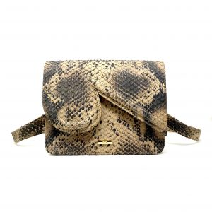 Katie in Beige Snake Embossed Leather